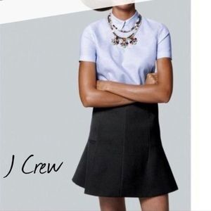 J. Crew A-line Fluted Mini Skirt in Black Crepe